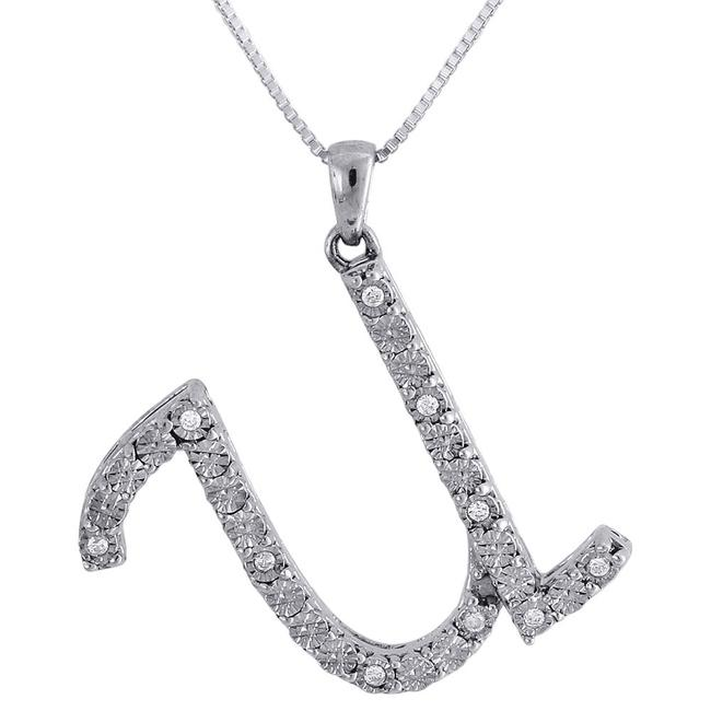 Jewelry For Less Sterling Silver W U Script Diamond .925 Initial Pendant W/ Chain Charm Jewelry For Less Sterling Silver W U Script Diamond .925 Initial Pendant W/ Chain Charm Image 1