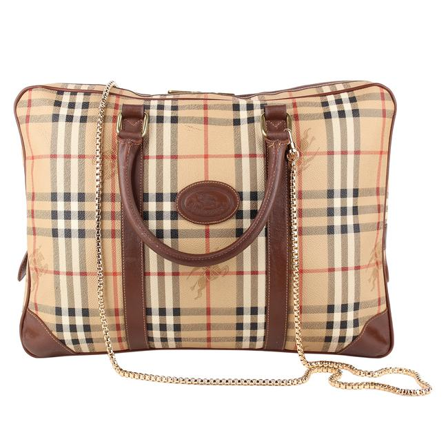 Burberry 8535 Brown Coated Canvas Messenger Bag Burberry 8535 Brown Coated Canvas Messenger Bag Image 1
