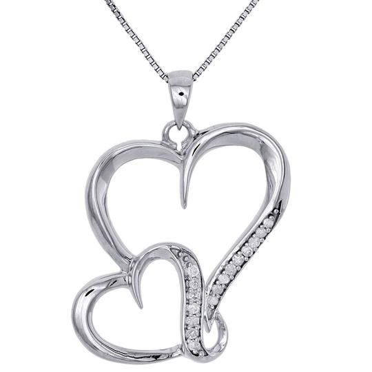 Preload https://img-static.tradesy.com/item/27686798/jewelry-for-less-sterling-silver-w-925-diamond-interlinked-heart-ladies-pendant-w-chain-charm-0-0-540-540.jpg