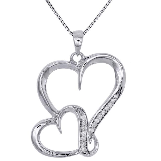 Jewelry For Less Sterling Silver W .925 Diamond Interlinked Heart Ladies Pendant W/ Chain Charm Jewelry For Less Sterling Silver W .925 Diamond Interlinked Heart Ladies Pendant W/ Chain Charm Image 1