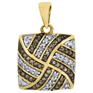 Jewelry For Less Brown Diamond Square Pendant 10K Yellow Gold 0.25 CT. Charm