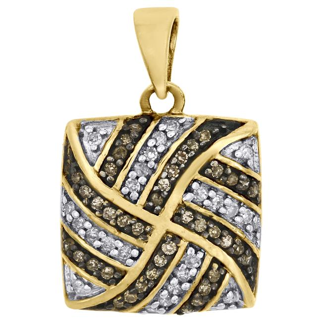 Jewelry For Less Yellow Gold Brown Diamond Square Pendant 10k 0.25 Ct. Charm Jewelry For Less Yellow Gold Brown Diamond Square Pendant 10k 0.25 Ct. Charm Image 1
