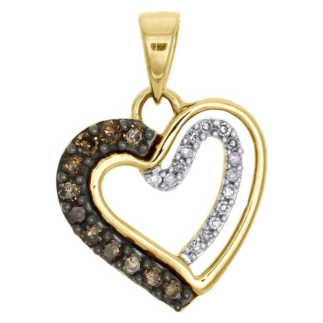 Jewelry For Less Yellow Gold Champagne Brown Diamond Heart Pendant 10k 0.20 Ct. Charm Jewelry For Less Yellow Gold Champagne Brown Diamond Heart Pendant 10k 0.20 Ct. Charm Image 1