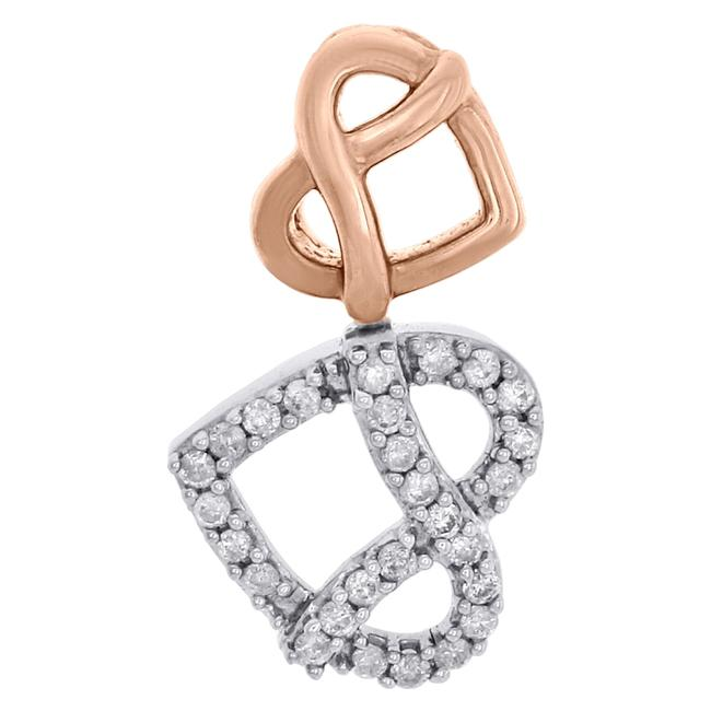 Jewelry For Less Two Tone 10k Gold Diamond Sideways Double Heart Stacked Slide Pendant Charm Jewelry For Less Two Tone 10k Gold Diamond Sideways Double Heart Stacked Slide Pendant Charm Image 1