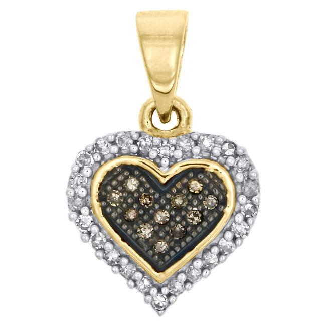Jewelry For Less Yellow Gold Champagne Brown Diamond Heart Pendant 10k 0.13 Ct Charm Jewelry For Less Yellow Gold Champagne Brown Diamond Heart Pendant 10k 0.13 Ct Charm Image 1