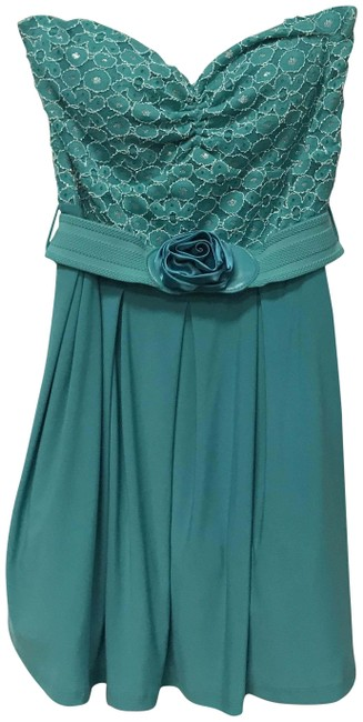 Item - Teal Green Off The Shoulder Belted Floral Short Cocktail Dress Size 12 (L)