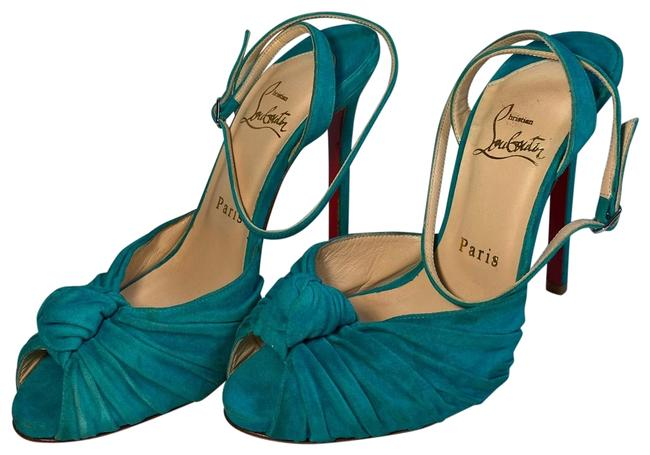 Christian Louboutin Turquoise Knotted Mule Platforms Size US 7 Narrow (Aa, N) Christian Louboutin Turquoise Knotted Mule Platforms Size US 7 Narrow (Aa, N) Image 1