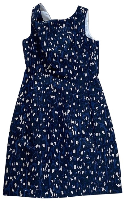 Item - Navy Blue White/Cream Nwot Cotton/Silk Midi Mid-length Cocktail Dress Size 6 (S)