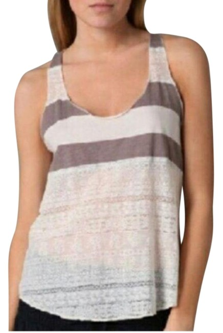 Item - Tan Cream Striped Lace Summer Tank Top/Cami Size 4 (S)