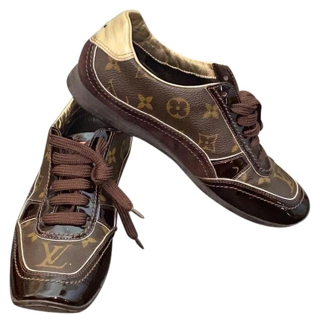 Item - Brown and Gold Monogram Sneakers Size EU 35.5 (Approx. US 5.5) Narrow (Aa, N)