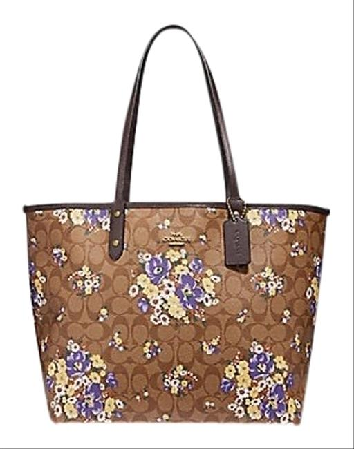 Item - City Reversible with Medley Bouquet Print F32084 Multicolor Coated Canvas Tote