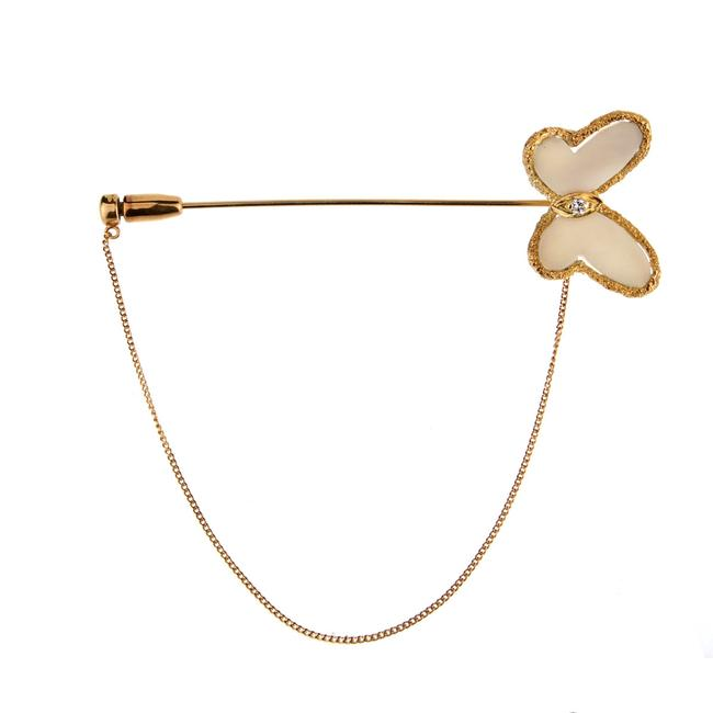 Item - Yellow Gold And White Coral Butterfly Brooch 901 Necklace