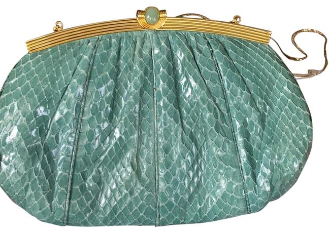 Item - Vintage 1970 Soft Green Snake Skin Clutch