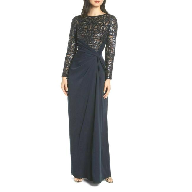 Item - Navy Amir Sequin Sleeve Crepe Long Night Out Dress Size 10 (M)