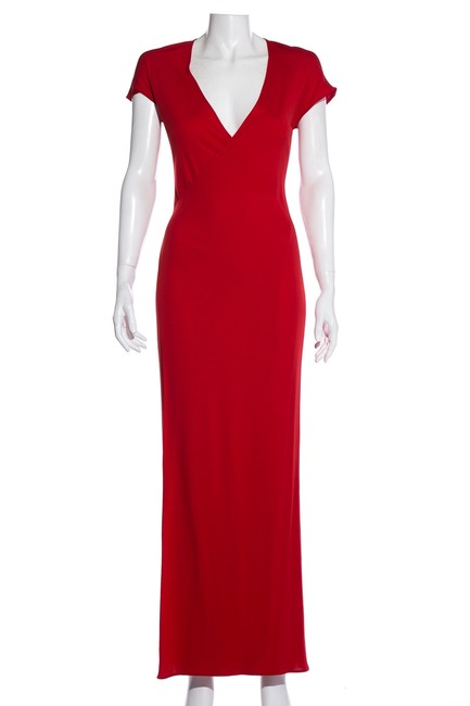 Item - Red Short Sleeve Long Cocktail Dress Size 4 (S)
