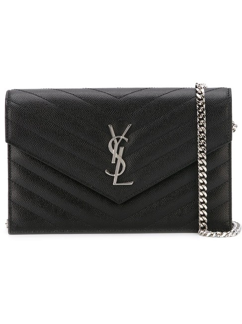 Item - Chain Wallet Clutch Ysl Monogram Quilted Envelope Black W/Silver Leather Cross Body Bag