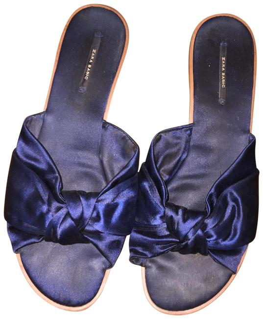 Item - Blue Basic Satin Bow Knot Flat Slip On Sandals Size EU 40 (Approx. US 10) Regular (M, B)