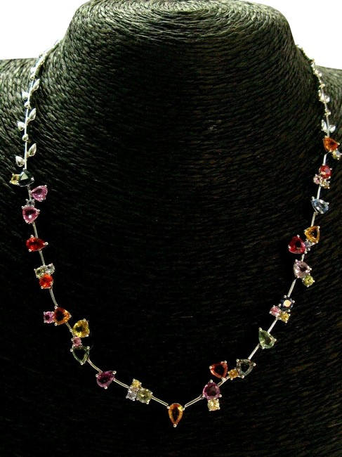 "Item - White Gold Multi Color Sapphire 18kt 8.00ct 16.5"" Necklace"
