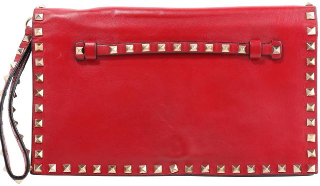 Item - Rockstud Red Leather Clutch