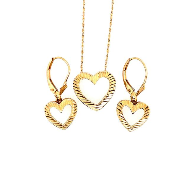 Item - Gold 10k Heart Necklace and Earrings Set