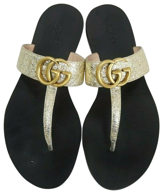Item - Gold Marmont Metallic Leather Double Gg T-strap Women's Sandals Size EU 36.5 (Approx. US 6.5) Regular (M, B)