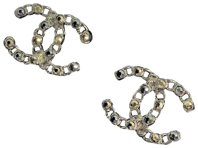 Chanel Silver Cc Logo Two Tone Crystals Earrings Chanel Silver Cc Logo Two Tone Crystals Earrings Image 1