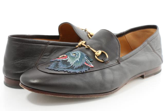 Item - Brown Men's Brixton Angry Wolf Applique Leather Loafer Shoes