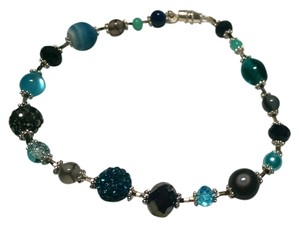New Anklet Crystals Gemstones Agate Pearl Blue Gray Silver 10 Inch J877