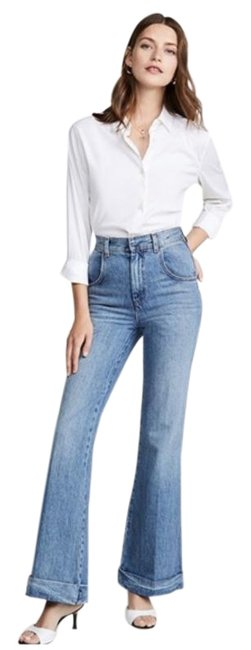 Item - Blue 70s Ultra High Rise Cuffed Bell Flare Leg Jeans Size 28 (4, S)