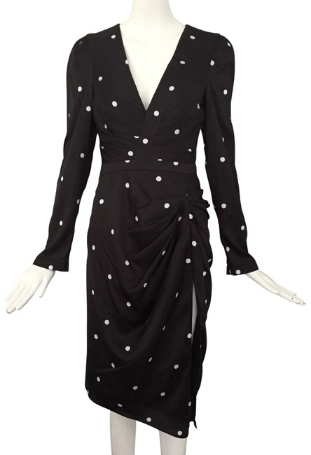 Item - Black White V Neck Long Sleeve Polka Dots Mid-length Short Casual Dress Size 0 (XS)