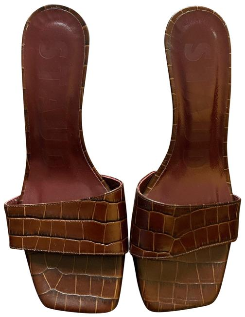 Item - Dark-brown Croc-effect Leather Billie Sandals Wedges Size EU 38 (Approx. US 8) Regular (M, B)