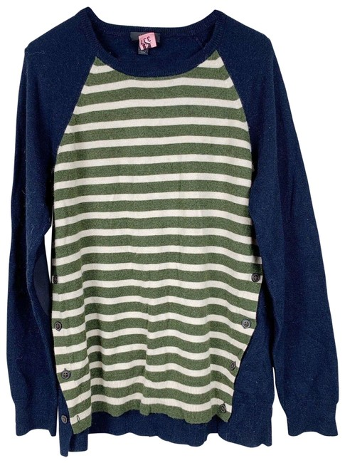 Item - Side-button Stripe Womens Size Large Green Navy Tan Sweater