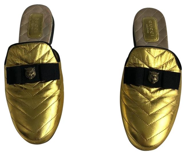 Item - Gold Princetown Quilted Leather Mules/Slides Size EU 37 (Approx. US 7) Regular (M, B)