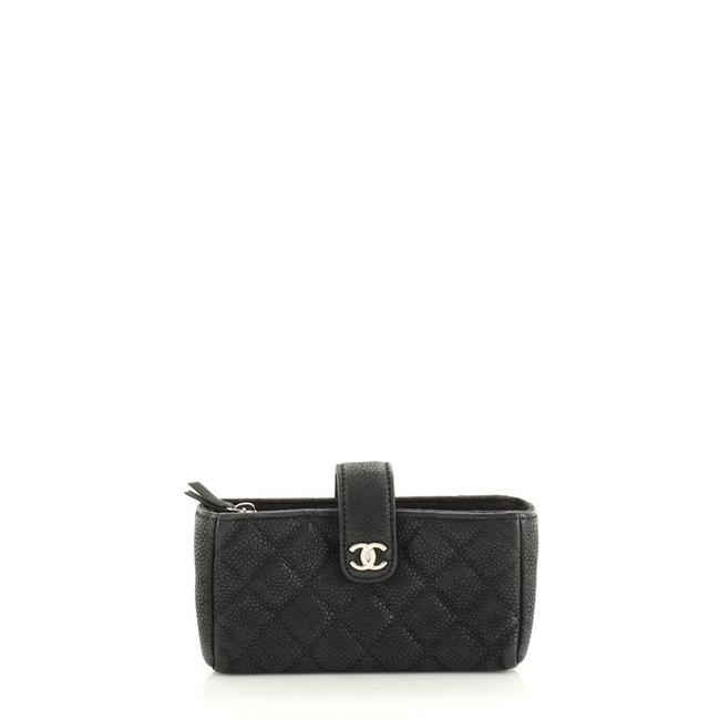 Chanel Phone Holder Quilted Caviar Mini Black Leather Clutch Chanel Phone Holder Quilted Caviar Mini Black Leather Clutch Image 1