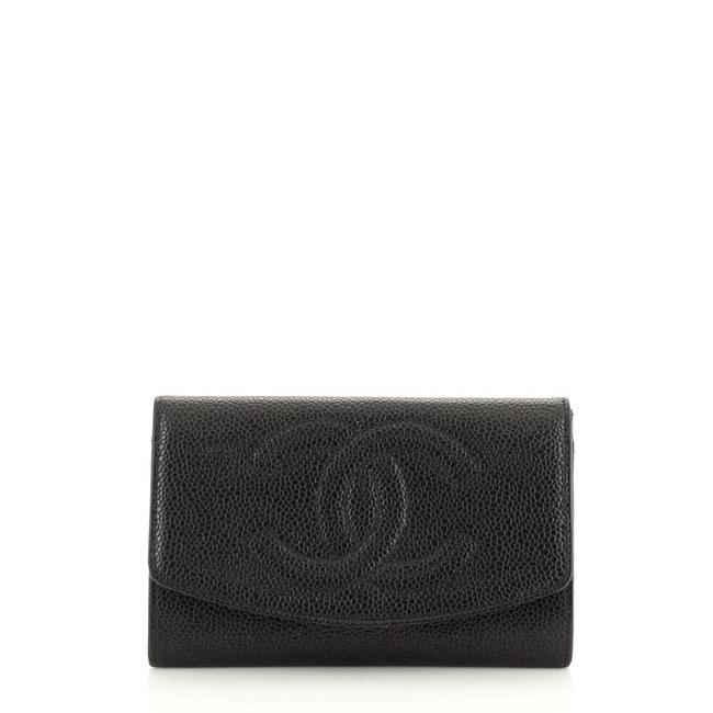 Chanel Vintage Timeless Card Case Caviar Black Leather Clutch Chanel Vintage Timeless Card Case Caviar Black Leather Clutch Image 1