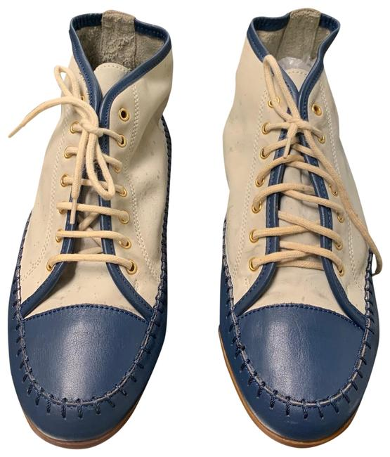 Item - Blue /Begie Women's Leather Rare Italy 70s 80 Sneakers Size US 7.5 Regular (M, B)