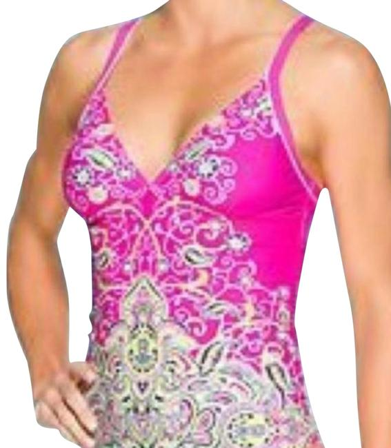 Item - Hot Pink Lime Green Black & White Top Dragonfly S Tankini Size 4 (S)