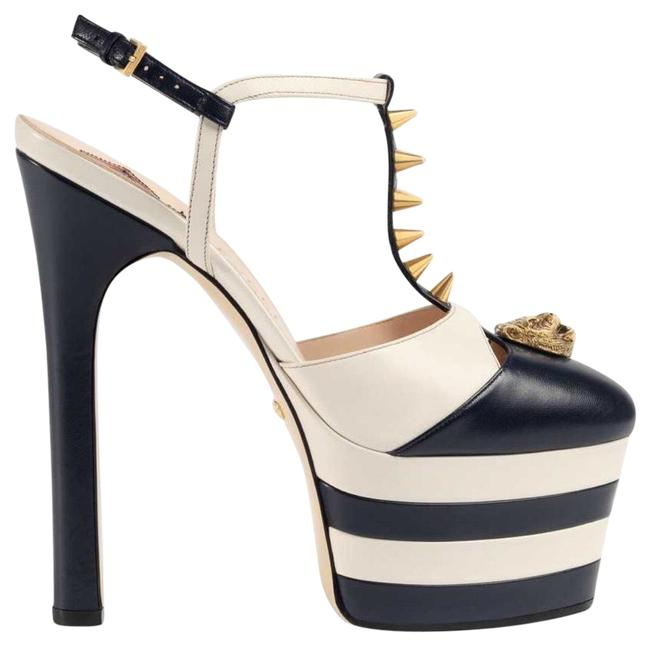 Item - Navy Blue White and Gold Spikes Platform Pumps Size US 8.5 Narrow (Aa, N)