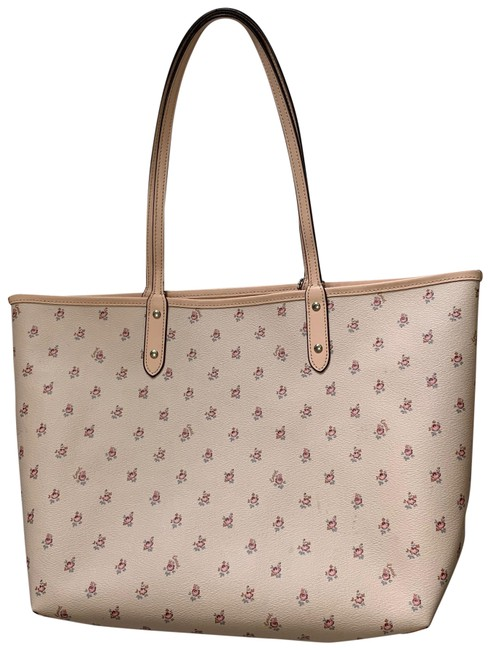 Item - Reversible Floral Print Pink Leather Tote