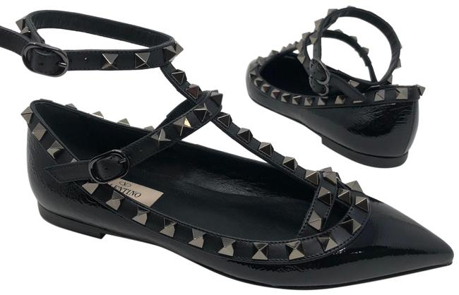 Item - Black Rockstud Patent Leather Ankle Strap Ballet Flats Size EU 34 (Approx. US 4) Regular (M, B)