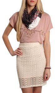 Free People Bohemian Bodycon Vintage Skirt Ivory/Pink