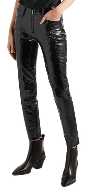 Item - Black Slick Cropped Patent-real Leather High-rise Slim-leg Pants In Skinny Jeans Size 6 (S, 28)