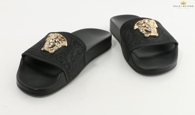 Item - Black/Gold W Rubber Slipper Open Sandal W/ Medusa Logo Shoes