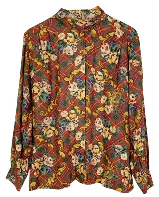 Item - Brown Gold Plaid & Ornate Floral Mock Neck Button Up Long Sleeve Button-down Top Size 10 (M)