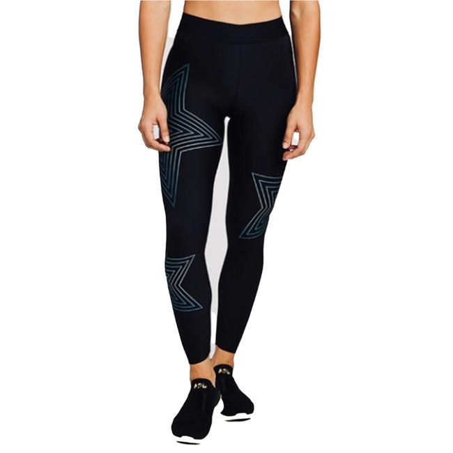 Item - Black Multi Soulcycle Limited Edition Holographic Starburst Holograph Activewear Bottoms Size 2 (XS, 26)