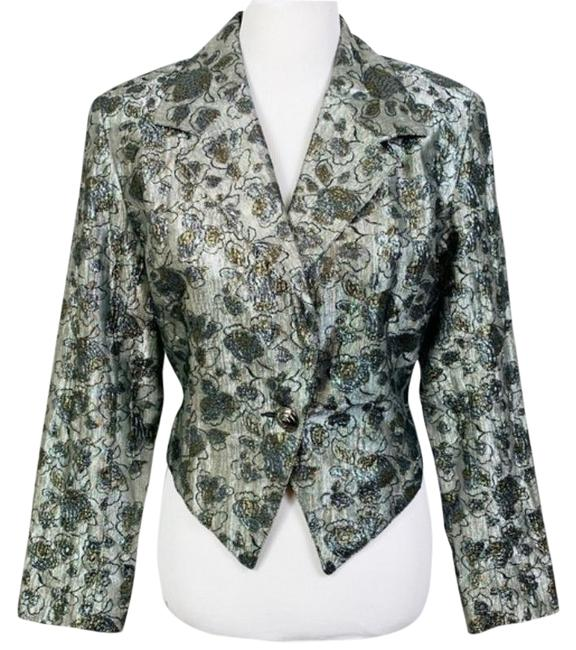 Item - Black Silver 80s Metallic Jacquard Floral Crop Statement Blazer Size 10 (M)