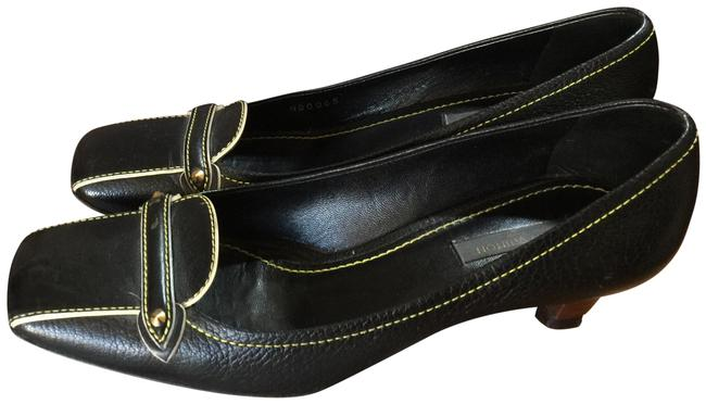 Item - Black Yellow Gold Italy Pumps Size EU 37.5 (Approx. US 7.5) Regular (M, B)