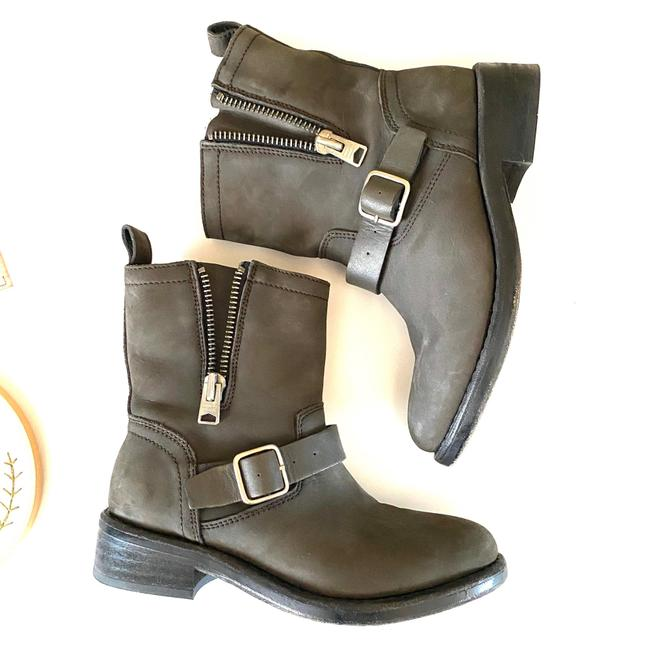 Item - Charcoal Gray Classic Leather Moto Motorcycle Biker Boots/Booties Size US 6 Regular (M, B)