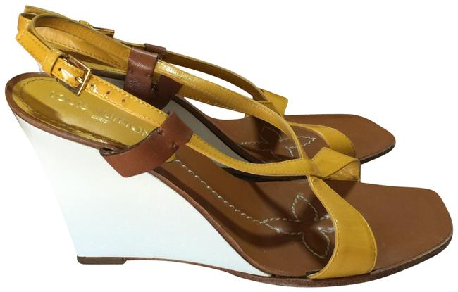 Item - Mustar Yellow White Brown Italy Wedges Size EU 36.5 (Approx. US 6.5) Regular (M, B)