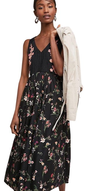 Item - Black Floral Lola Embroidered Long Casual Maxi Dress Size 6 (S)